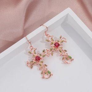 Rose gold Crystal Flower Christian Cross Earrings